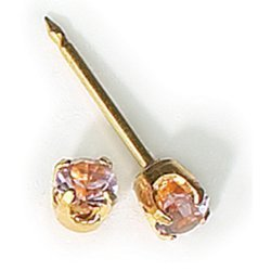 Inverness 24kt Gold Plated Birthstone Gems 3mm Piercing Earrings June Alexandrite by Inverness