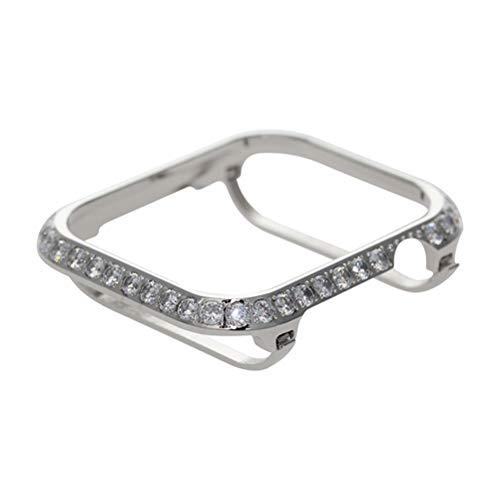 Hemobllo Schmuckuhrrahmen für Apple-Uhr Beschützergehäuse Kristall Diamanten Rahmen Uhrenabdeckung für Apple Iwatch Serie 4 Schale 40mm (Silber)