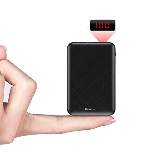 Baseus Mini Power Banks 10000mAh USB C Schnelles Laden Externer Akku mit LED Display für iPhone 11 Pro Max, Samsung Galaxy iPad Tablet und mehr - Schwarz