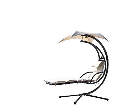 Avanti Trendstore – Varese – Hängeliege mit Metallrahmen schwarz, inklusive Kissen, ca. 200x197x105 cm