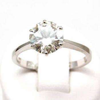 18ct Gold 2 Carat Solitaire Round Moissanite Ring
