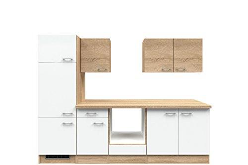 Flex-Well 00009058 Küchenzeile Samoa 270 cm weiß, Sonoma Eiche ohne Elektrogeräte