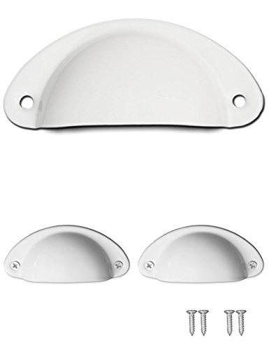 FUXXER® - 2x Antik Schubladen Griff-Muscheln Retro Design | Griff-Schalen für Schieber Buffets Kommoden Landhaus Stil | inkl. Schrauben 2er Set weiss -