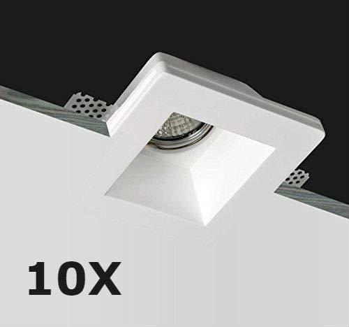 KingLed - 10x Portafaretto in Gesso CERAMICO da Incasso Quadrato per Controsoffitti per GU10 e MR16 cod. 0628