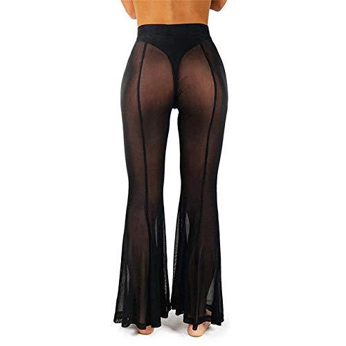 ive der sexy schwarzen weißen Frauen Bell-Bottoms-Strand-Ineinander greifen-bloßer Bikini vertuschen die Badebekleidung, die Lange Hosen-Hosen badet ()