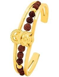 Voylla Gold Plated Lord Hanuman Faux Rudraksha Cuff Bracelet For Women