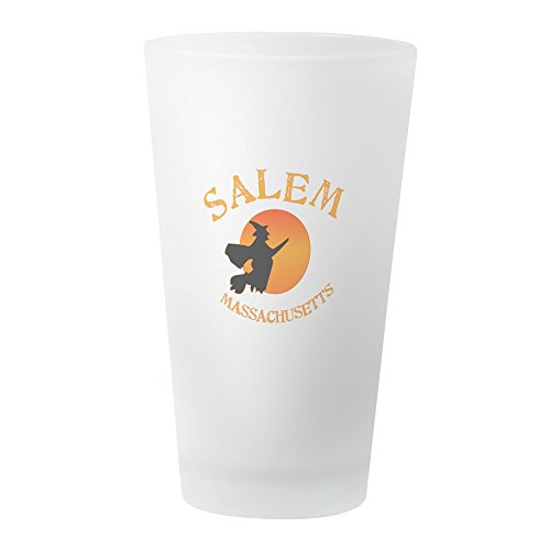 CafePress Salem Massachusetts Bierglas, Hexenmotiv frosted