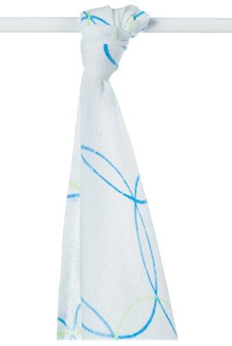 XKKO bmb09 0015 a Couche Serviettes à langer Bambou, allaiter, comme tapis ou couverture légère, couches 90 x 100 cm, BLEU