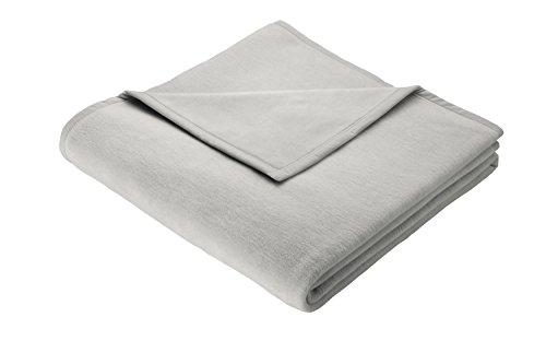 Biederlack Wohn- und Kuscheldecke, 100 % Baumwolle, Samtband-Einfassung, 150 x 200 cm, Silber, Cotton Pure, 239688