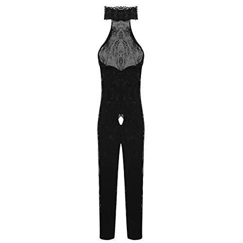 Agoky Herren Overall Dessous Fischnetz Jumpsuit Ganzkörper Strumpfhosen Ouvert Nachtwäsche Clubwear Schwarz A One Size -