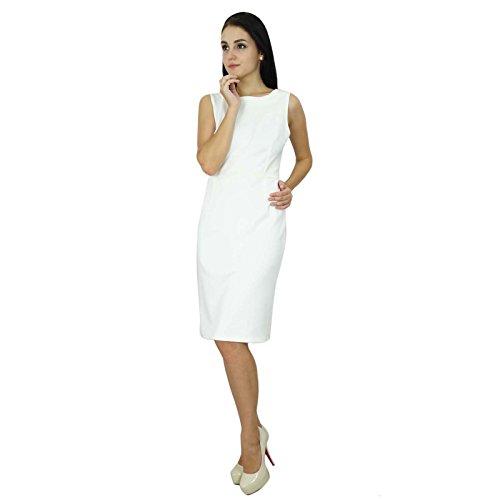 Bimba Womens Classic Slim Fit Bodycon Sleeveless Formal Midi Custom Dress White