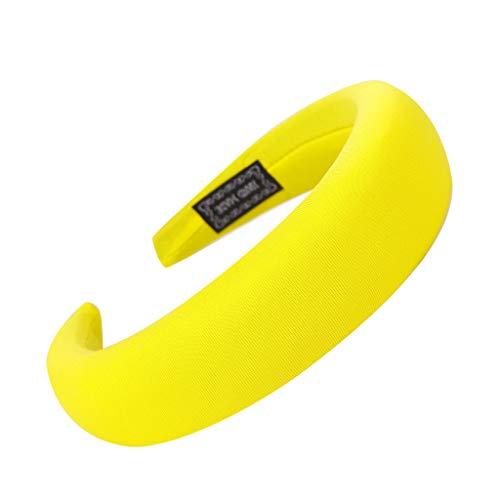 Sport Haarband Volltonfarbe Damen Haar Kopfband Einfache SüßE MäDchen Stirnband(Gelb) ()