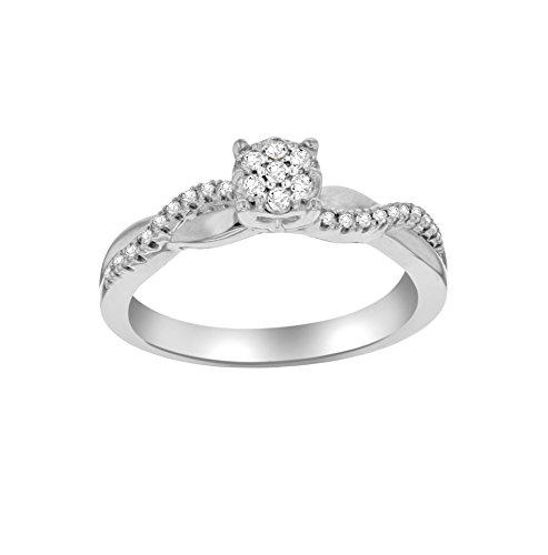 Pave Prive-Donna oro bianco 14ct bianco diamante quadrato Halo Twist Rotondo Misura anello-N