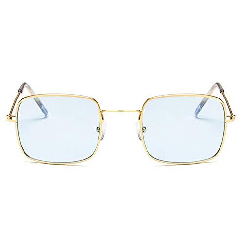 KCJKXC Kleine Viereckige Rahmen Vintage-Sonnenbrille Retro-Marken-Design Grau Blau Gelb Rot Getönt Männer Sonnenbrille Kleines Quadrat