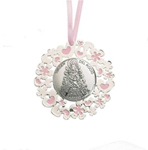MEDALLA DE CUNA DE LA VIRGEN DEL ROCIO de color rosa en Plata bilaminada, esmalte y barnizado, PUEDE SER PERSONALIZADO.