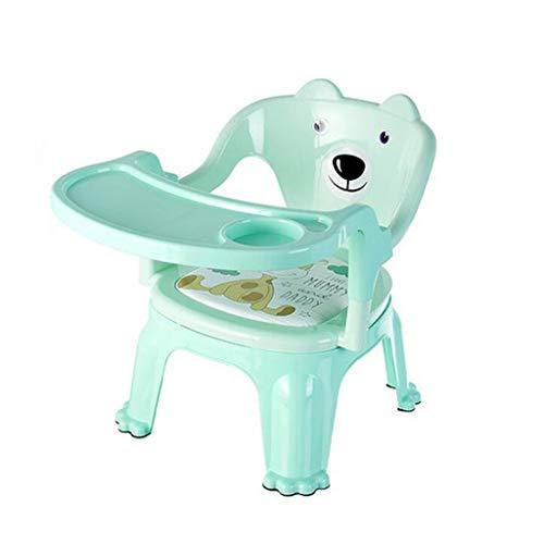 ASMZ DLDL Kinder-Esszimmerstuhl mit Tablett Kinderstuhl Baby Plastikhocker (Farbe : Green)