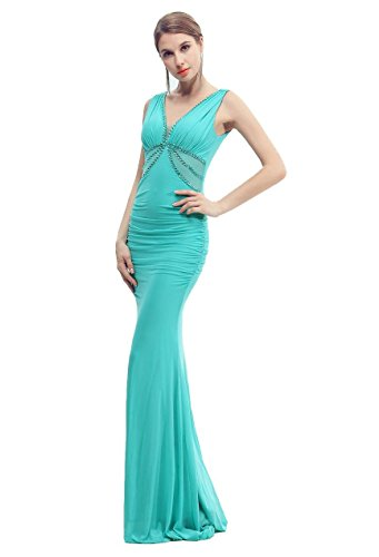 Beauty-Emily Meerjungfrau Maxi Spitze Rüschen Lange Strass Tiefer V rückenfrei Ohne Arm elegante Kleider Formal Prom Night Party Kleider Vestido De Renda Farbe Grün. One Size (Quinceanera Vestidos De)