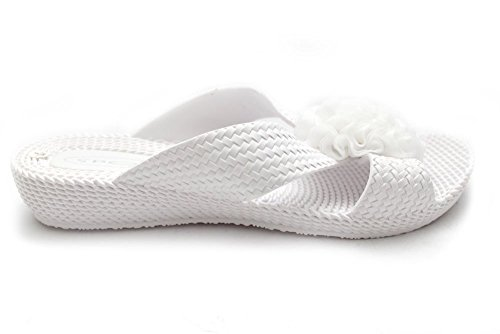 Mr Shoes-Sandali di abbigliamento di sintetico da donna, colore: bianco (blanco - blanco)