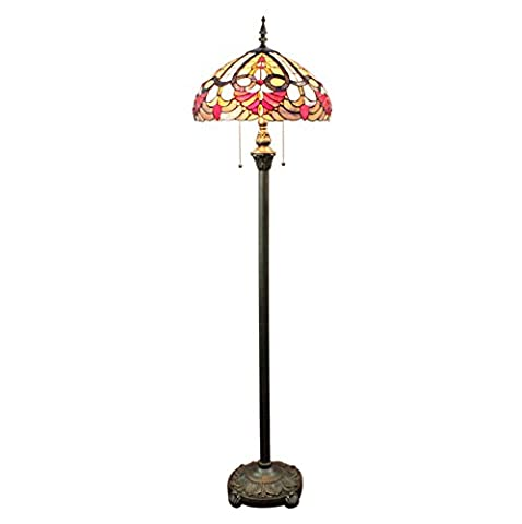 Gweat Tiffany 16 Pouces Style Pastoral Européenne Handmade Stained Glass Floor Lamp