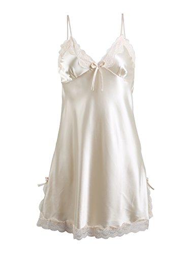 Sexy Loungewear (sourcingmap® Damen Sexy Satin Lace Trim Schlafentragen Nachtgown Pajama Slip Kleidung)