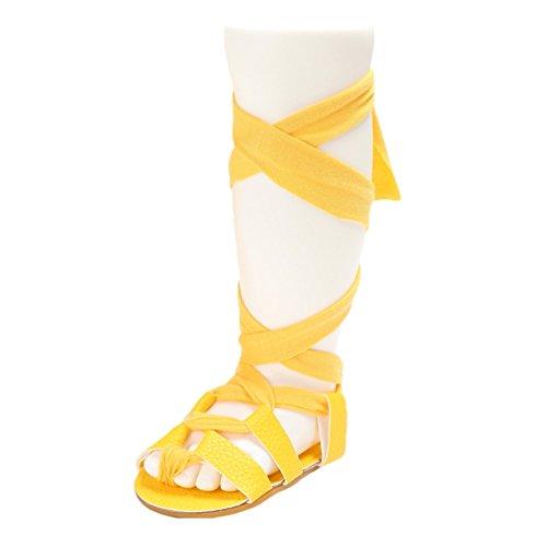 CHENGYANG BéBé Filles Été Mode Gladiateur Bandage Chaussures Anti-dérapante Sandales Jaune