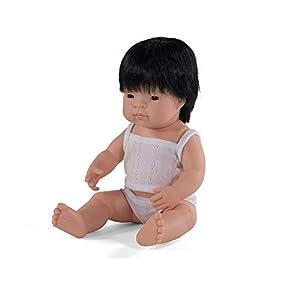 Miniland - Muñeco bebé Asiático Niño de vinilo suave de 38cm con rasgos étnicos y sexuado para el aprendizaje de la diversidad con suave y agradable perfume. Presentado en caja de regalo.