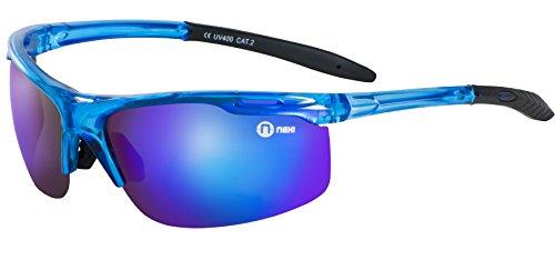 Nexi S19 Blue Dragon Sonnenbrille ideal als Sportbrille oder Fahrradbrille für Herren und Damen verspiegelt und mit Polarisation inklusive Etui und Mikrofasertuch