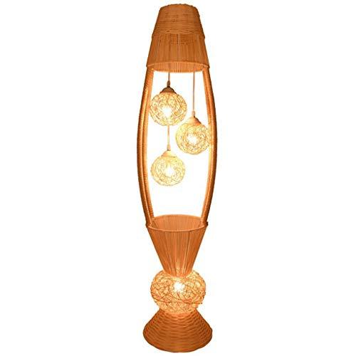 Lampadaire en osier en rotin avec abat-jour de luminaire Lampadaire Art de nuit rustique, foyer pour hall d'entrée, chambre à coucher Lampadaire Economique