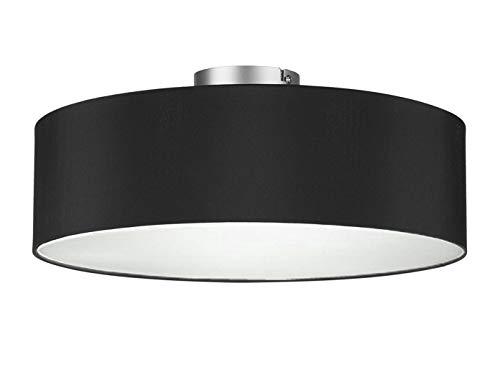 Runde Zeitlose Deckenleuchte mit Stoffschirm in Schwarz Ø 40cm - satinierte Abdeckung für blendfreies Lichtambiente -