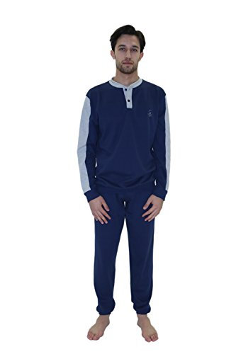 Giorgio Rey - Pyjama 08-105 für mann, 100% cotton interlock warm cotton, langarm Blue Notte