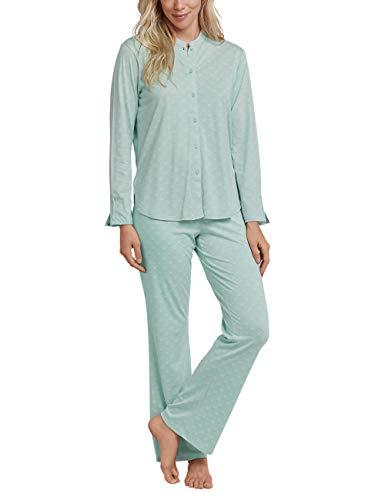 Schiesser Damen Pyjama Lang Zweiteiliger Schlafanzug, Grün (Mint 708), 36 (Herstellergröße: 036)