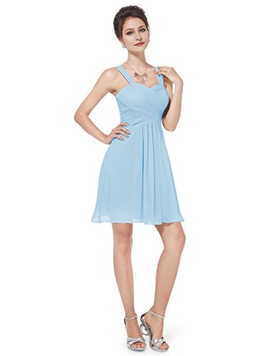 Ever Pretty Robe de Demoiselle d'honneur en Coeur V-col au genou 03539 Bleu