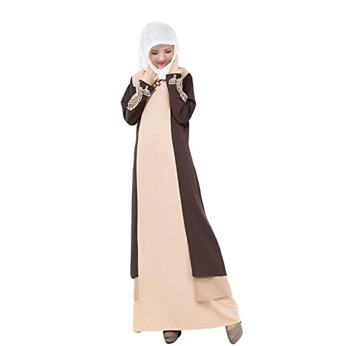 Haodasi Muslim Damen Maxikleid Kaftan Islamic Abaya Malaysia Lange Ärmel Robe Coffee