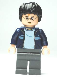 LEGO Harry Potter Figur Harry Potter mit Blau Jacke und Hose grau (2, Ausdruck des Set 4840) mit Stern Harry-potter-hose