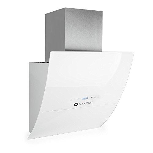 Klarstein RGL60WH • Dunstabzugshaube • Abzugshaube • Wandabzugshaube • Abluft / Umluft • 3 Stufen • max. Abluftleistung: 600 m³/h • Glas-Front • LED • Display • Timer • Wandanbau • Breite: 60 cm • Aluminium-Fettfilter • kopffrei • weiß