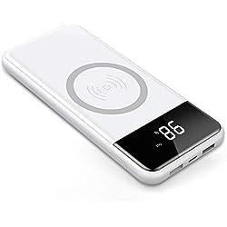 Chargeur Rapide sans Fil,Chargeur Portable 12000mAh Batterie Externe Double USB pour iPhone X/8Plus/8 Samsung Galaxy S8 Plus/S8/S7 Edge/S7etc et les Autres Périphériques USB Micro (Blanc)