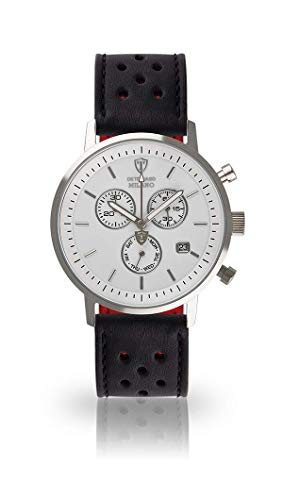 DETOMASO Milano Mens Chronograph Analog Quartz Black Racing Leather Watch Strap White dial DT1052-B-840