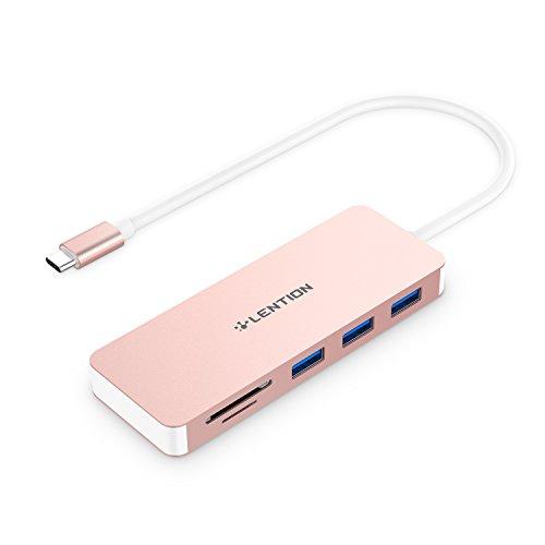 Lention USB-C-Hub mit Typ C, USB-3,0-Anschlüsse und SD/TF-Kartenleser für MacBook Air 2018, MacBook 12, MacBook Pro 13/15 mit Thunderbolt 3, ChromeBook und mehr, Multi-Port-Adapter (Rose Gold)
