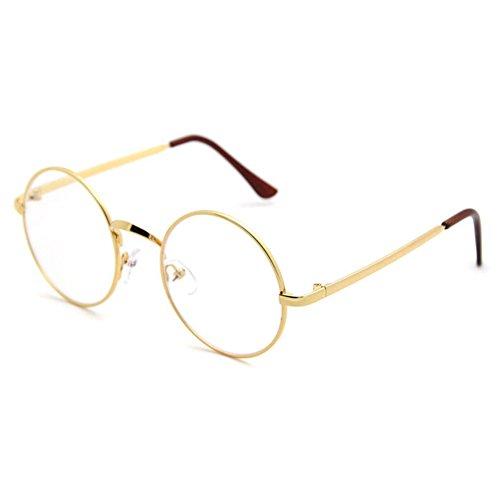 Highdas Männer Frauen Metallrahmen freie Gläser Mode Brillen Gold-