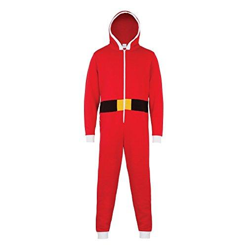 x Santa-Anzug / Santa-Onesie / Nikolaus-Schlafanzug (L/XL) (Rot) (Santa Anzug Frauen)