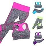 #2: ATOOZED Women's Girl's Fitness Workout Clothing Gym Sports Running Slim Leggings Bra Yoga Suit-Tracksuit