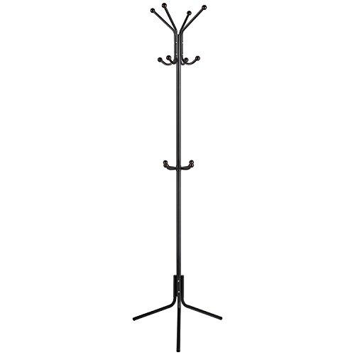 HOMFA Coat Racks Metal Tree Clothes Hangers bag 12 ties 174cm Black Hooks