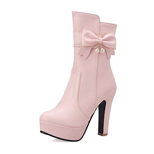 AllhqFashion Damen Rein PU Hoher Absatz Reißverschluss Schließen Zehe Stiefel, Pink, 42