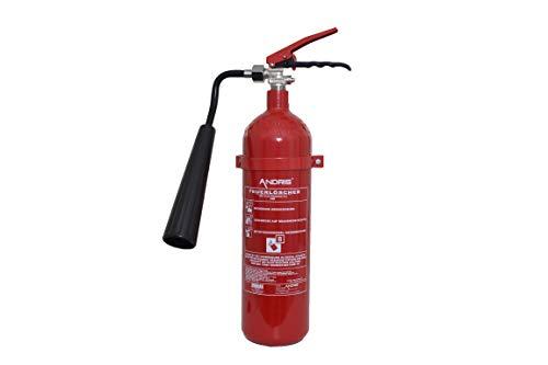 Feuerlöscher 2kg CO2 Kohlendioxid EDV geeignet EN 3 inkl. ANDRIS® Prüfnachweis mit Jahresmarke ISO-Symbolschild & \'für EDV\' Textschild