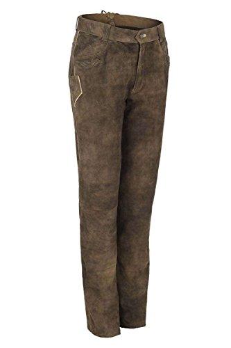 Herren Spieth & Wensky Trachten Lederhose lang Wildbock Antik braun, braun, 60