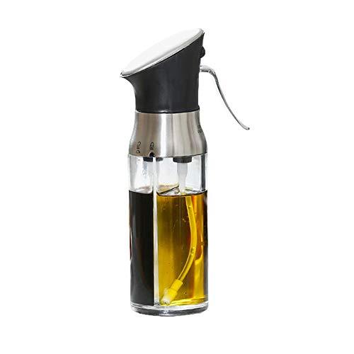 Aceite de pulverización y vinagre Botella 2 en 1 con 2 cámaras 200ML Aceite Dispensador portátil de acero inoxidable Vidrio para cocinar ensalada BBQ Cocina para hornear Freír