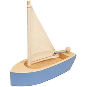 Spielzeugboot in Blau aus massiv