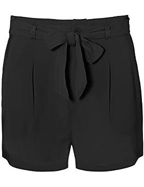 Fresh Made Pantaloncini da donna in crêpe con pieghe in vita e cintura | Pantaloncini corti eleganti a vita leggermente...