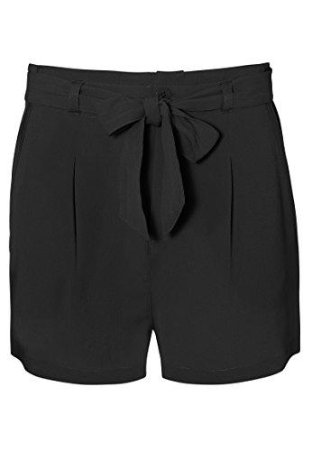 Fresh Made Damen Crepe Shorts mit Bundfalten und Gürtel | Elegante Kurze Hose mit mittelhoher Taille black M (Crepe Elegant Hose)