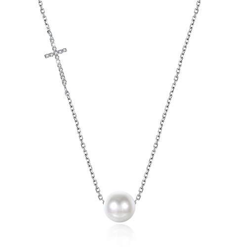 Prunusmume Halskette mit Anhänger aus 925er Sterlingsilber, mit Kreuz und Perlen